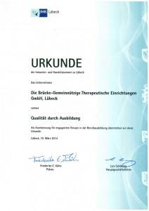 Die BRÜCKE wurde bereits vielfach für ihre Leistungen im Bereich der Ausbildung junger Menschen ausgezeichnet - so wie zuletzt hier 2014 durch die IHK Lübeck.
