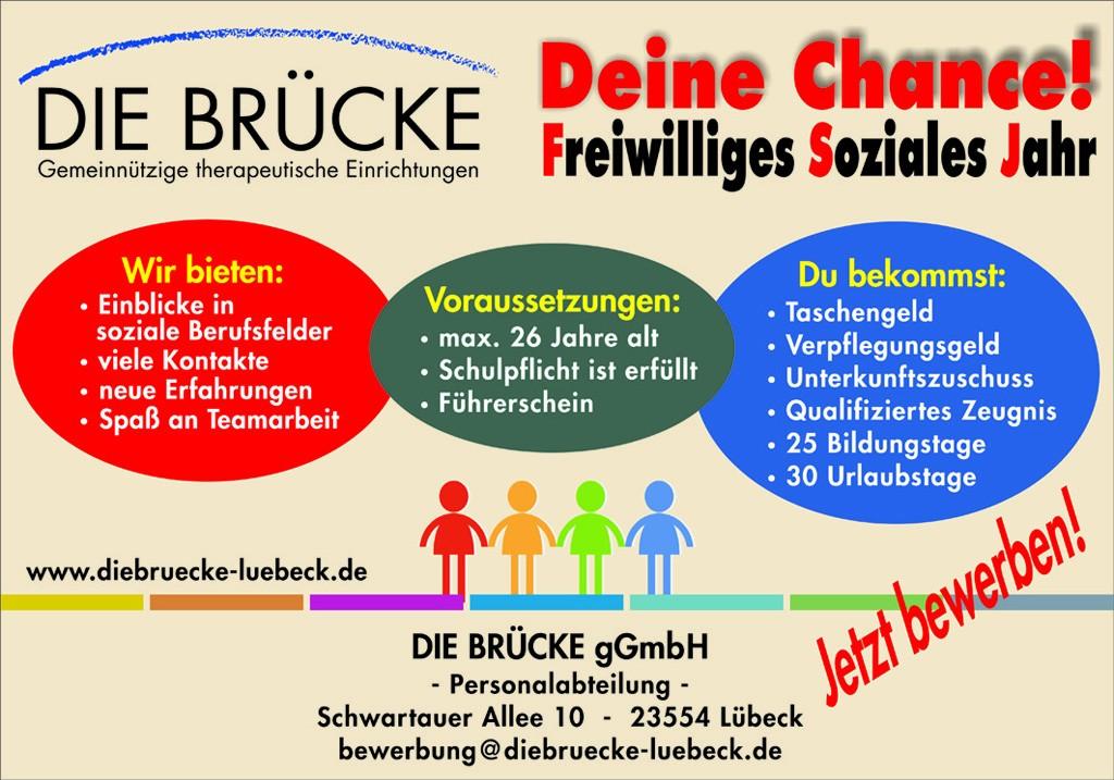 """Jetzt bewerben für ein """"Freiwilliges Soziales Jahr"""" bei der BRÜCKE in Lübeck"""