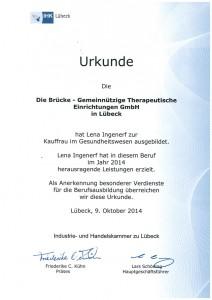 Als Anerkennung für besondere Dienste in der Berufsausbildung erhielt die BRÜCKE diese Auszeichnung der IHK Lübeck.