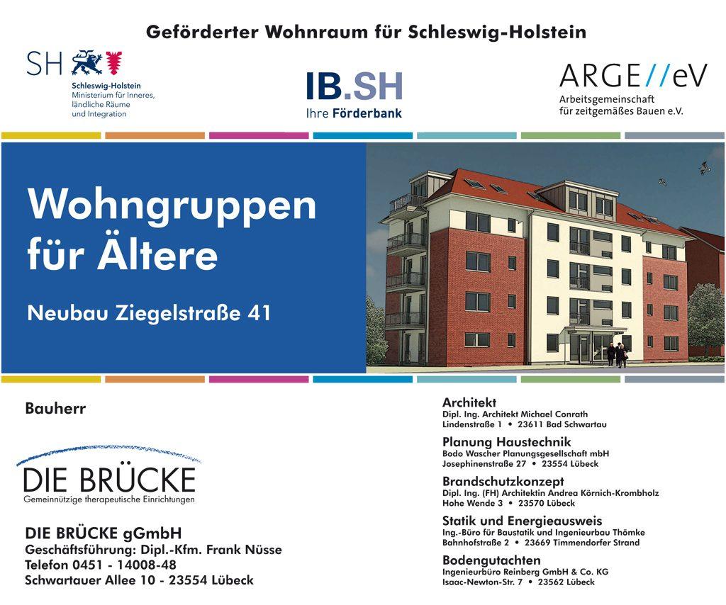 Die BRÜCKE baut an der Ziegelstraße 41 in Lübeck