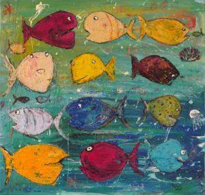 Farbenfrohe Malerei von Rosemarie Willig - jetzt bei der BRÜCKE im Restaurant PONS zu sehen