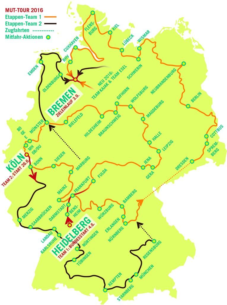 Die MUT-TOUR 2016 geht über 7.000 km durch ganz Deutschland.